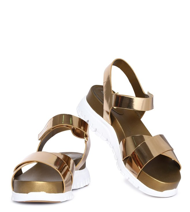 5e7ed0abd7f Buy Cole Haan Gold Zerogrand Criss Cross Strap Sandals for Women ...