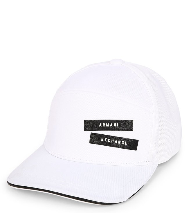 86374199e0753 Armani Exchange. Armani Exchange Bianco Pebbled Patch Logo Cap  White ...