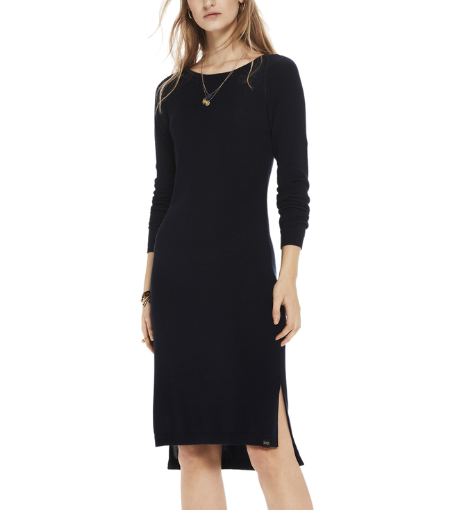 Buy Scotch & Soda Navy Knitted Ladder Tapes Dress For