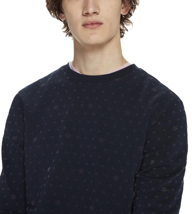 Buy Scotch   Soda Blue All-Over Flock Print Sweatshirt for Men ... d039e13aee3