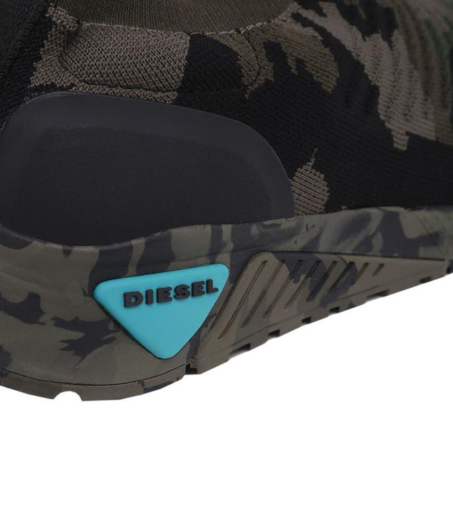 c34c42f5e5ab0 Buy Diesel Green Camo Print SKB Athl Sock Sneakers for Men Online ...