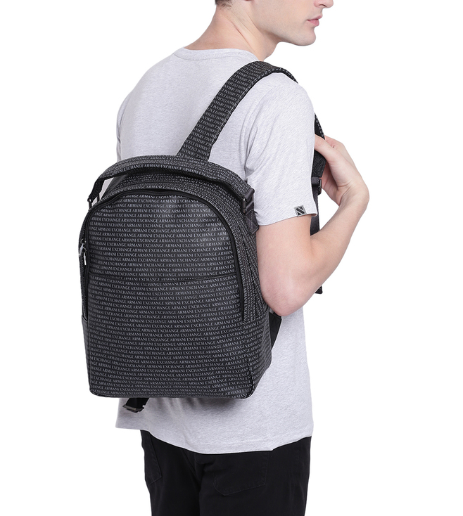 1a6d584c6e78 Buy Armani Exchange Nero Allover Logo Print Large Backpack for Men ...