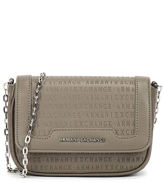 Buy Armani Exchange Taupe Logo Large Cross Body Bag for Women Online ... 242de6deb71ae