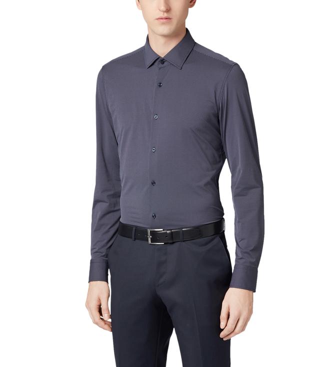 a2208f553 Buy Hugo Boss Jenno Navy Slim Fit Shirt for Men Online @ Tata CLiQ ...