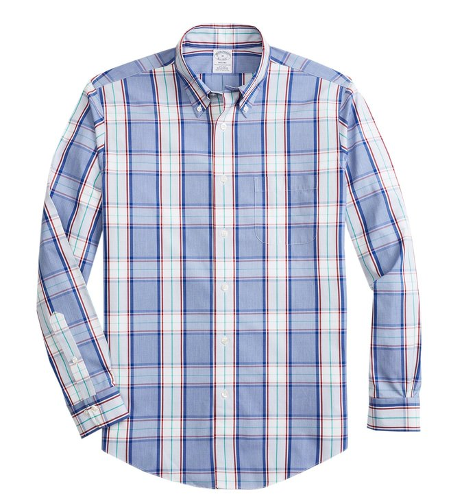 Brooks Brothers Navy Regent Fit Yarndyed Checked Shirt