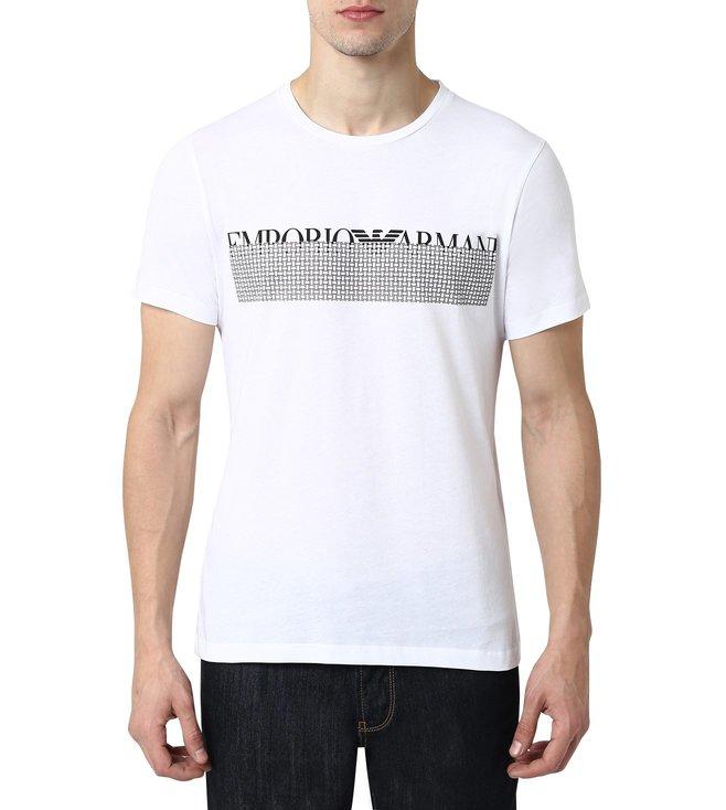 57cfec73a Added to Bag. Emporio Armani Bianco Ottico Half Sleeves Slim Fit Logo Crew T -Shirt