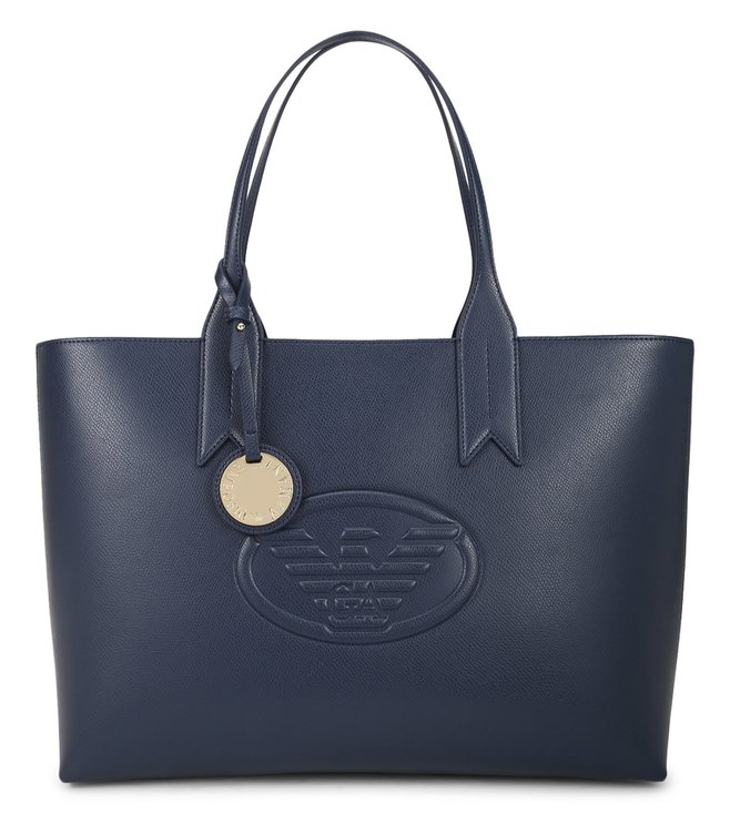 1641fae96 Buy Emporio Armani Blu Notte Logo Medium Tote for Women Online   Tata CLiQ  Luxury