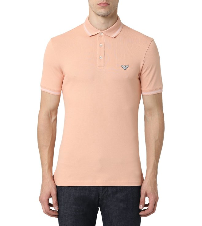 8e6c716ebea1a6 Buy Emporio Armani Rosa Ambrato Half Sleeves Slim Fit Polo T-Shirt ...