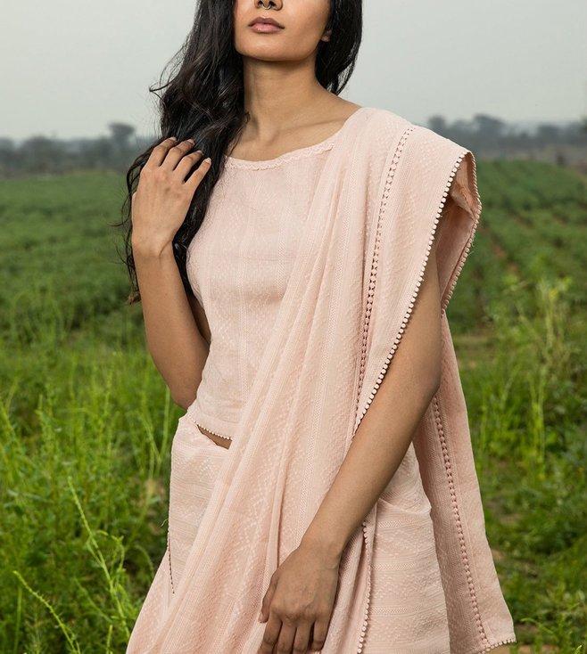 Kharakapas Blush Pink Embroidered Cotton Blouse