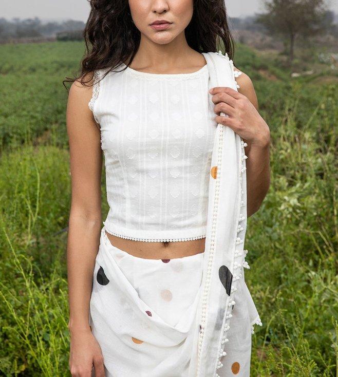 Kharakapas White Printed Cotton Blouse
