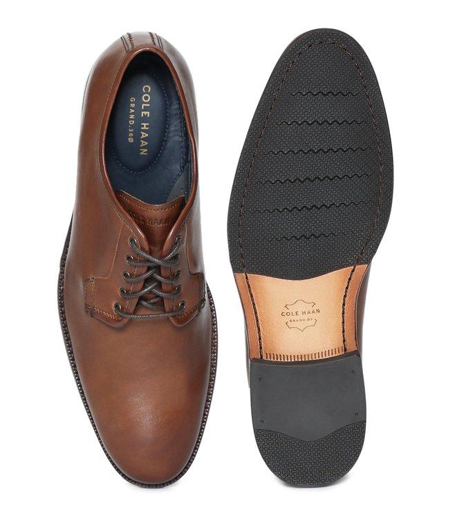 1ff9dc6959 Buy Cole Haan Tan Warner Grand Postman Derby Shoes for Men Online ...