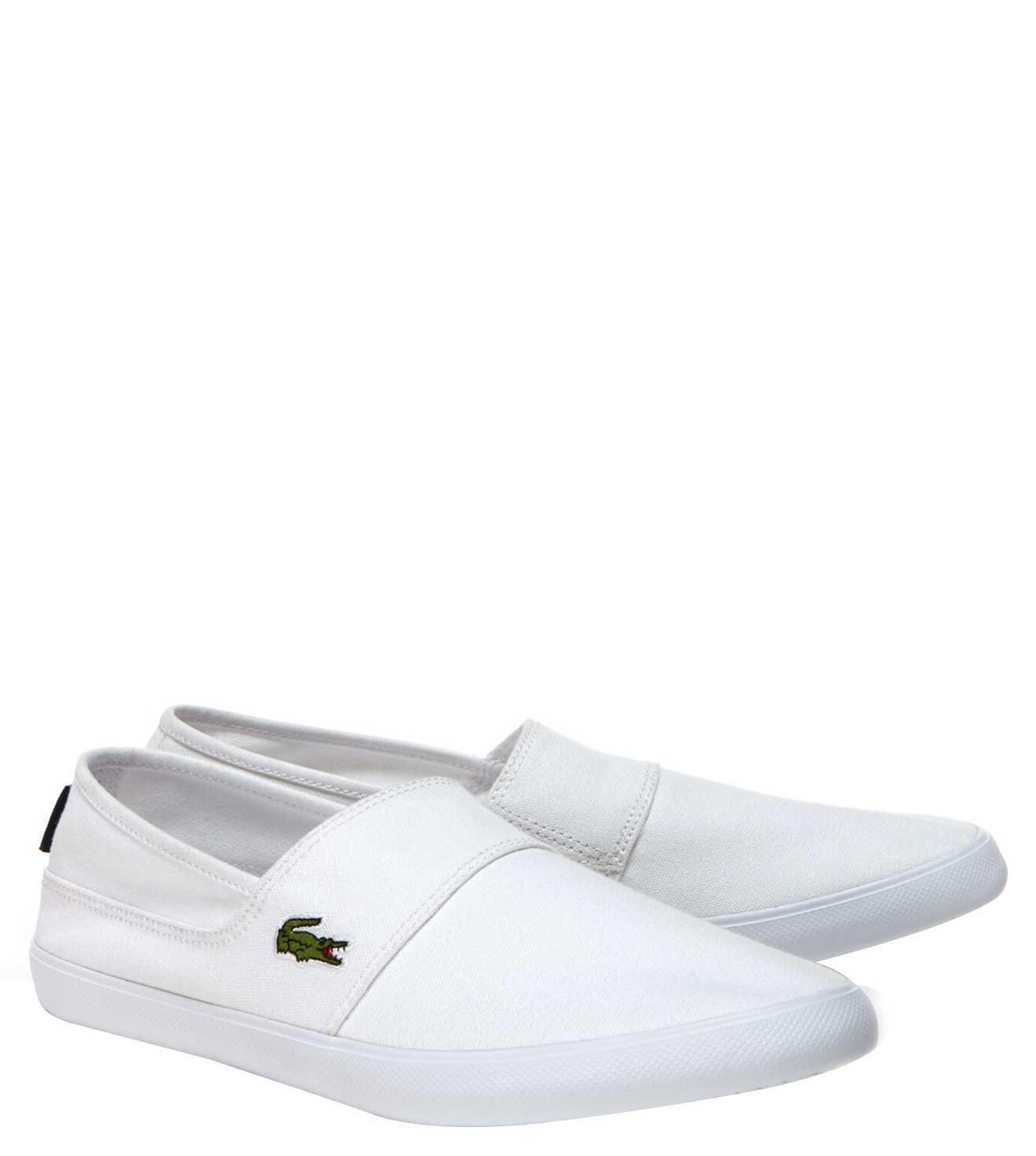 Buy Lacoste White Marice Canvas Slip-On