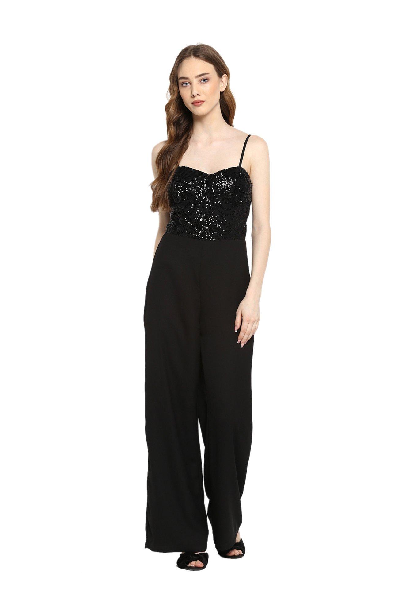 8351f3eb30b Buy Kazo Black Embellished Full Length Jumpsuit for Women Online   Tata CLiQ