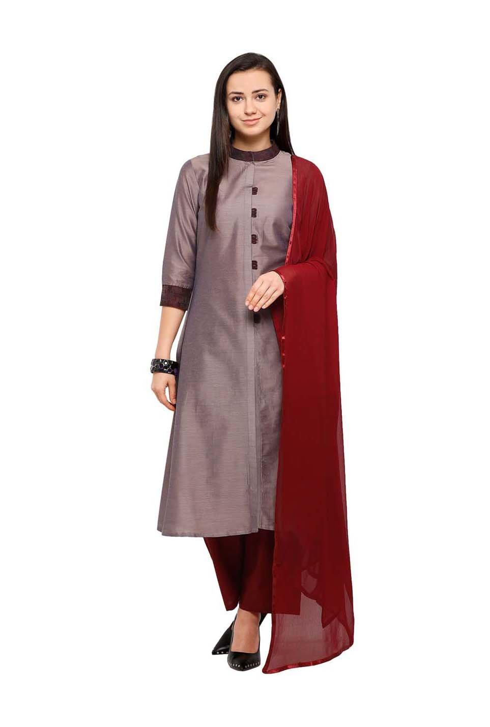 38005516d8 Buy Inddus Brown & Maroon Cotton Dress Material for Women Online ...