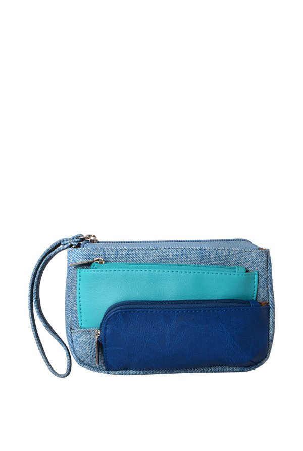 Baggit Lp Ibiza Y G Frosty Blue Color Block Wristlet Pouch