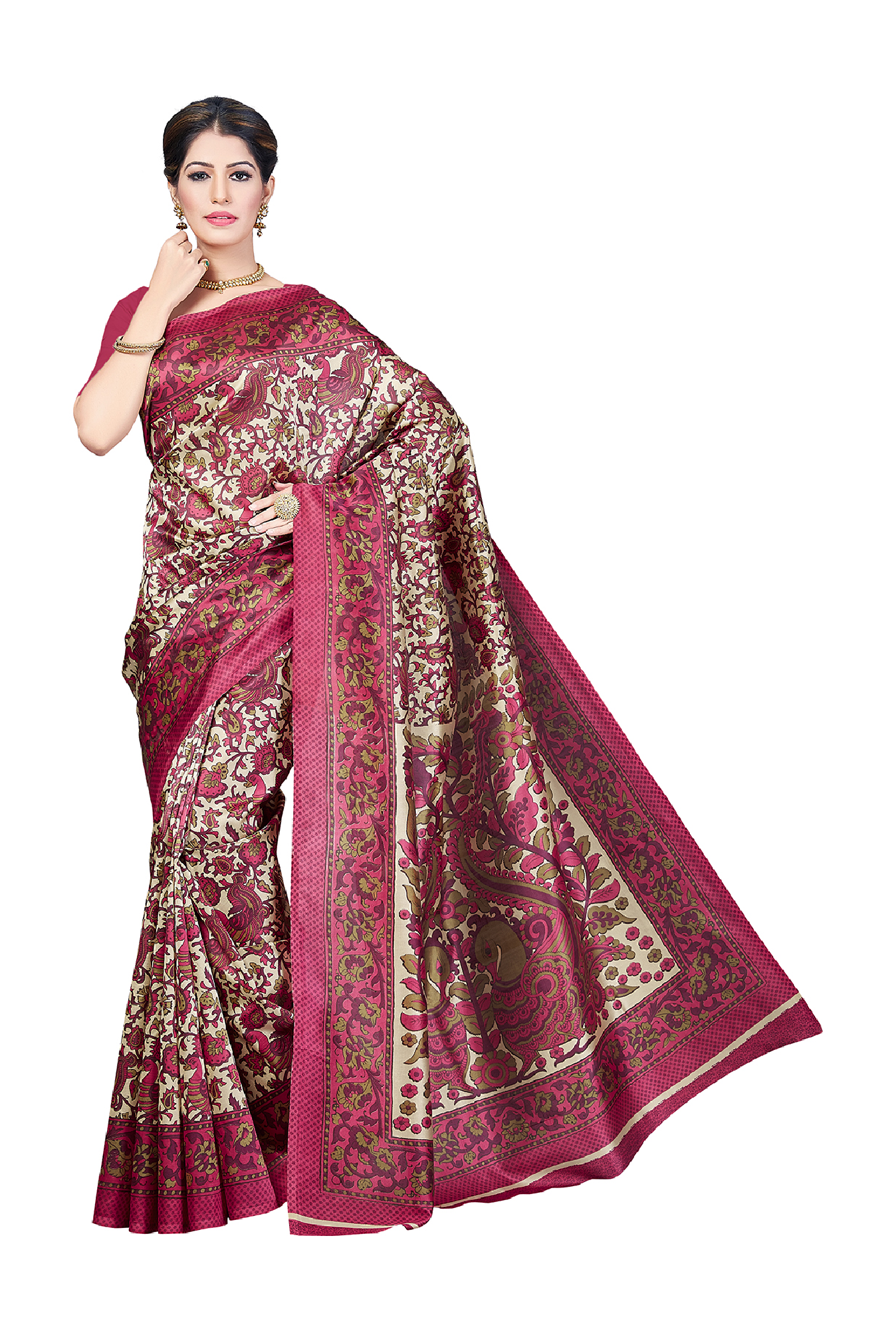 d6ccff234f3 Buy Ishin Pink Printed Saree With Blouse for Women Online   Tata CLiQ