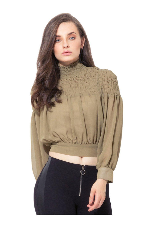fbc1934bdd219 Buy Kazo Olive Regular Fit Crop Top for Women Online   Tata CLiQ