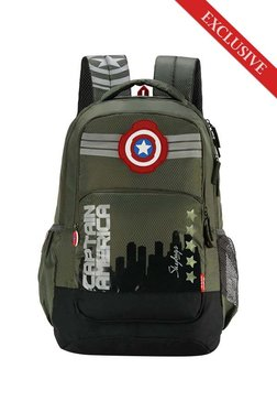 4e2863786 Skybags SB Marvel 07 Olive Green   Black Printed Backpack