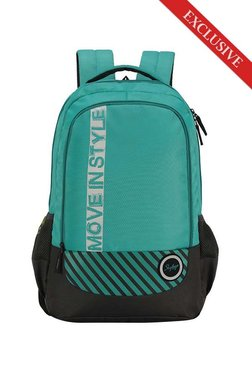 Skybags Luke 02 Sea Green   Black Printed Polyester Backpack c2171a815cc82
