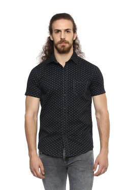 a7b4ecf15 Mufti Black Printed Half Sleeves Cotton Shirt