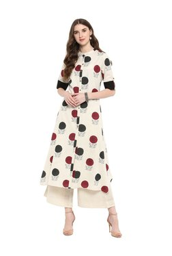 Varanga Off White Printed A-Line Kurta With Palazzo