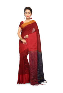 Bengal Handloom Red Cotton Silk Saree With Blouse