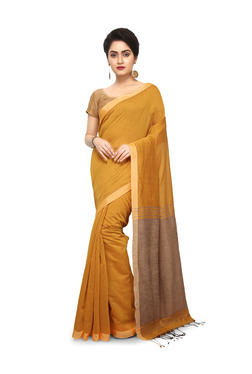 Bengal Handloom Mustard Cotton Silk Saree With Blouse