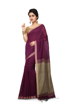 Bengal Handloom Maroon Cotton Silk Saree With Blouse