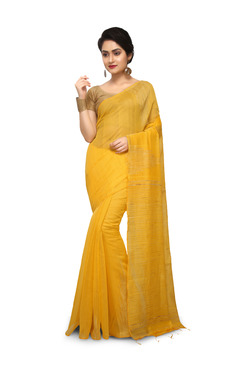 Bengal Handloom Yellow Cotton Silk Saree With Blouse
