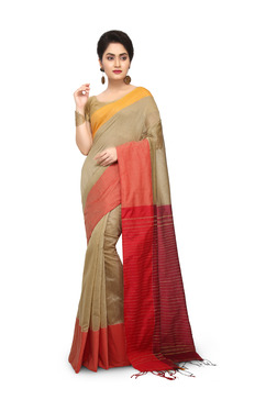 Bengal Handloom Beige & Red Cotton Silk Saree With Blouse