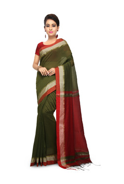 Bengal Handloom Olive & Red Cotton Silk Saree With Blouse