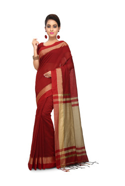 Bengal Handloom Red & Beige Cotton Silk Saree With Blouse