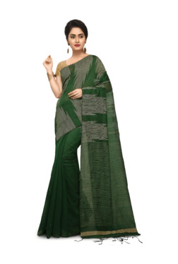 d96e43532f1255 Bengal Handloom Green Cotton Silk Saree With Blouse