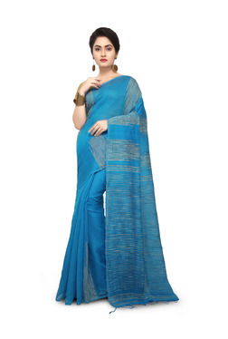 Bengal Handloom Sky Blue Cotton Silk Saree With Blouse