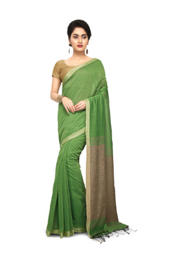 Bengal Handloom Green Cotton Silk Saree With Blouse - Mp000000003637713
