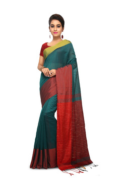 Bengal Handloom Green & Red Cotton Silk Saree With Blouse