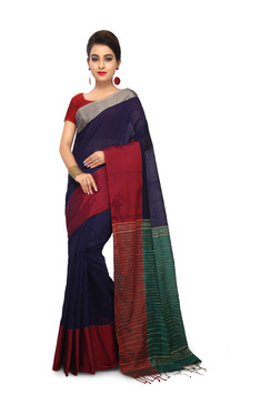 Bengal Handloom Navy & Red Cotton Silk Saree With Blouse