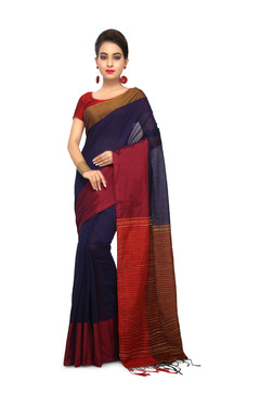 Bengal Handloom Navy & Red Cotton Silk Saree With Blouse - Mp000000003637752