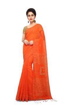 Bengal Handloom Orange Cotton Silk Saree With Blouse