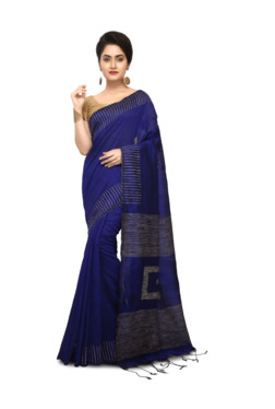 Bengal Handloom Navy Cotton Silk Saree With Blouse - Mp000000003638041