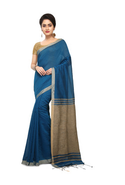 Bengal Handloom Teal Cotton Silk Saree With Blouse