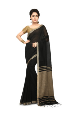 Bengal Handloom Black Cotton Silk Saree With Blouse