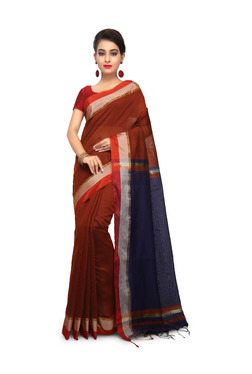 Bengal Handloom Maroon & Navy Cotton Silk Saree With Blouse