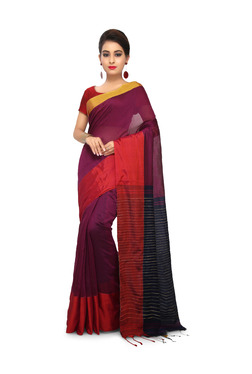 Bengal Handloom Maroon Cotton Silk Saree With Blouse - Mp000000003638085