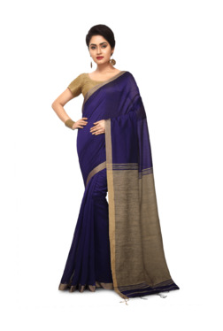 Bengal Handloom Navy Cotton Silk Saree With Blouse - Mp000000003638086