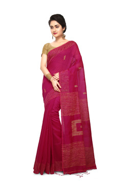 Bengal Handloom Pink Cotton Silk Saree With Blouse