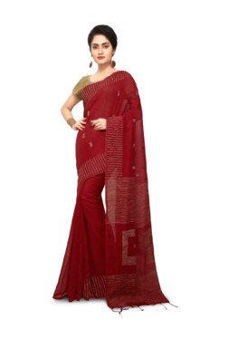 Bengal Handloom Maroon Cotton Silk Saree With Blouse - Mp000000003638174