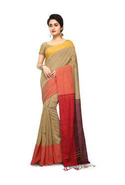 Bengal Handloom Muga & Red Cotton Silk Saree With Blouse