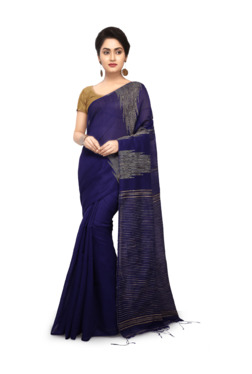 Bengal Handloom Navy Cotton Silk Saree With Blouse - Mp000000003639005