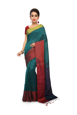 Bengal Handloom Dark Green & Red Cotton Silk Saree With Blouse